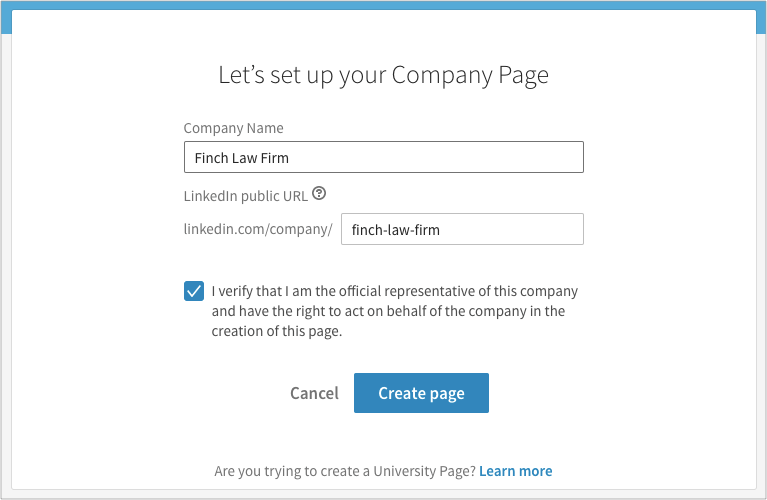 Lets set up your company page modal in linkedin where you enter your company name, URL, and certify that you are an authorized representative of the company