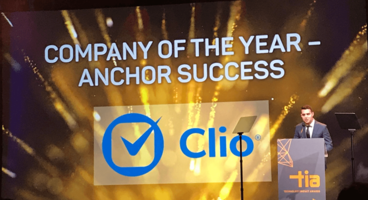 George Psiharis, COO of Clio, accepting the 2019 Company of the Year Anchor Success award,